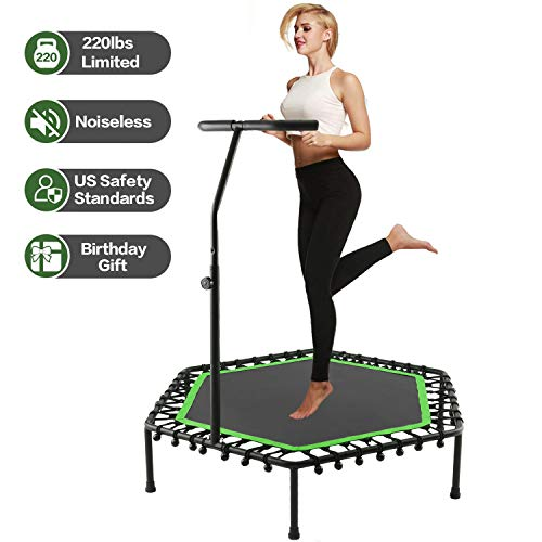 50 Inch Mini Exercise Trampoline for Adults or Kids - Indoor Fitness Rebounder Trampoline with Adjustable Handle Bar | Max. Load 220LBS (Green)