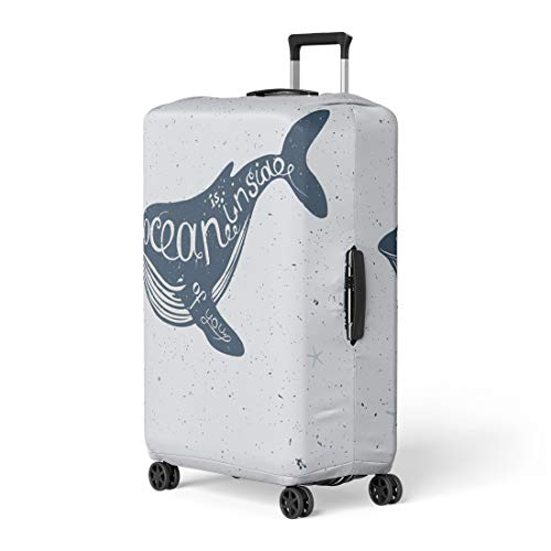 Semtomn Luggage Cover Sea Lettering Nautical Collection Big Blue Whale Silhouette Scribble Travel Suitcase Cover Protector Baggage Case Fits 22-24 Inch