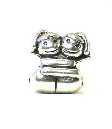 (Antique Silver Plated Boy Girl Hug Bead Charm)