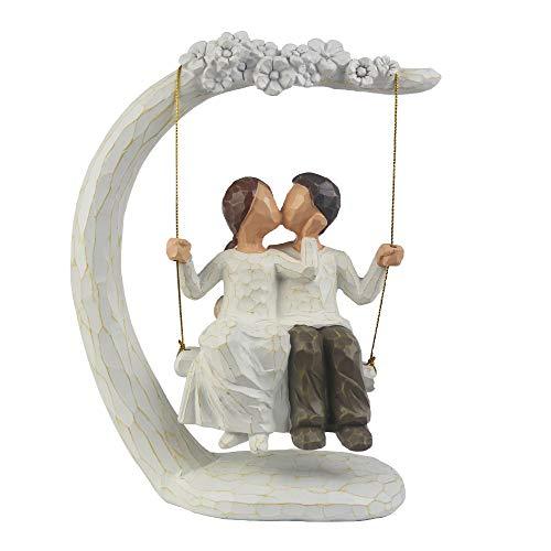 jinhuoba Couple Sculpture, 9Inch Hand Painted Sculpture Figure Romantic Loving Sculpture-Best Gift for Valentine