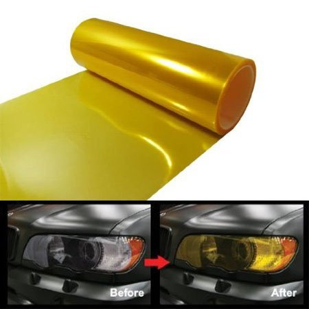 - 12 by 48 Inches Self Adhesive Headlight, Tail Lights, Fog Lights Tint Vinyl Film (12 X 48, Gold)