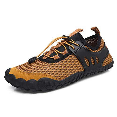 (aeepd Mens Womens Water Shoes Summer Lightweight Quick Drying Aqua Shoes Outdoor Athletic Sport Walking Shoes Brown)