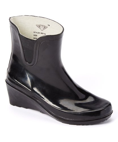 Women's & Ladie's Ankle Short Wedge Heels Rubber Booties Rain Boots (9, Shiny - Rubber Wedge Heel
