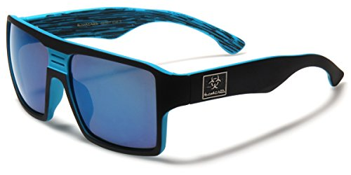 Square Retro Sport Shades with Color Mirror Lens - Multiple - Sunglasses Biohazard