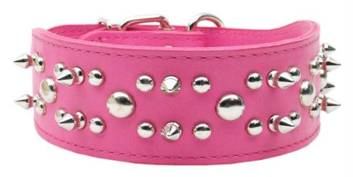 Mirage Pet Products Foxy Rodeo Leather Pink Dog Collar, 29