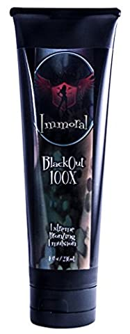 Immoral Tanning Lotion, BlackOut Extreme Dark Tanning Bronzing Emulsion, Streak Free Tattoo Safe Indoor/Outdoor Tanning Bed and Booth Bronzer Accelerator Intensifier, 8 Fluid (Indoor Tanning Bed Accelerator)