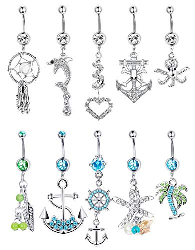 Finrezio 10 Pcs 14G Dangle Belly Button Ring Surgical Steel Navel Ear Rings CZ Body Piercing Jewelry