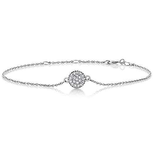 Gem Stone King 10K White Gold Diamond Pave Disc Adjustable Tennis Bracelet (0.10 cttw, I Color, I1 Clarity), 5.5inches to 6.5inches