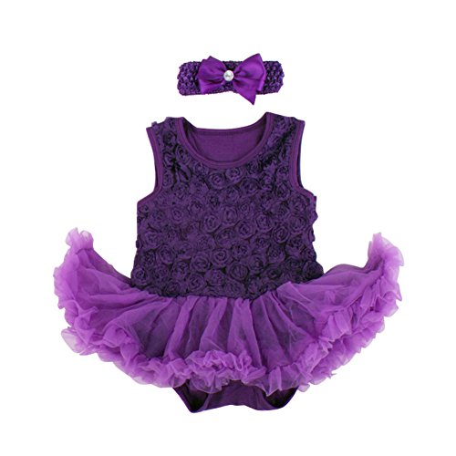 Ruffles Tutu Romper Rose Dress Dark Purple L (Dark Purple Tutu)