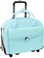 McKleinUSA 94368 Glen Ellyn 2-In-1 Removable-Wheeled Ladies' Briefcase With Removable Sleeve - Aqua Blue