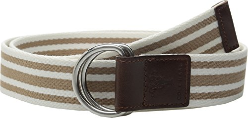 Cole Haan Women's 38mm D-Ring Webbing Pinch Belt, Maple Sugar/White with Woodbury, - Ladie D-ring Belt