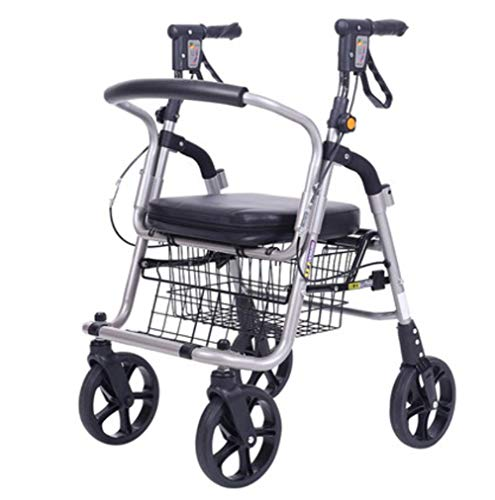 (J.GH Elderly Walker Wheelchair, Lightweight Aluminum Alloy Folding 4 Wheel Shopping Trolley with Padded Seat, Lockable Brakes and Carry Basket)