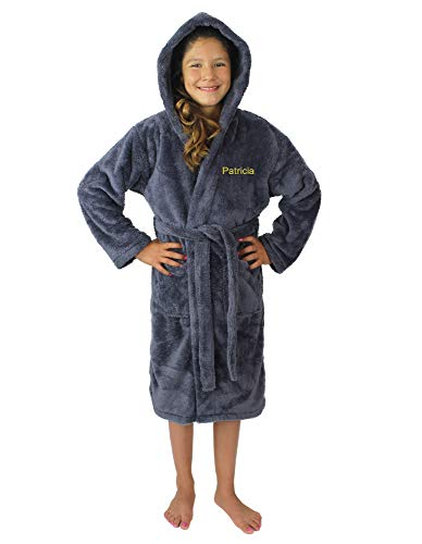 (Kids Plush and Soft Fleece Hooded Bathrobe for Girls and Boys (Gray, Large))