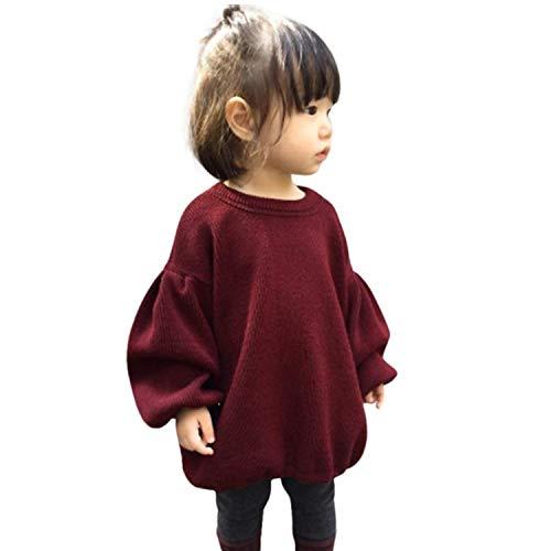 (GRNSHTS Baby Girls Loose Long Lantern Sleeve Knit Sweater (A Wine, 80/6-12M) …)