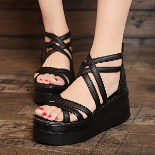 Mode Lanières Yuyoug Sexy Croisées Rond Black Femmes Sandales De Femme Des Antidérapantes À Pour Chaussures Bout La 6xwY6SPq4r