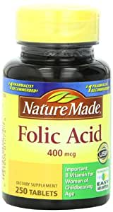 Nature Made Folic Acid 400mcg, 250 Tablets (Pack of 3)