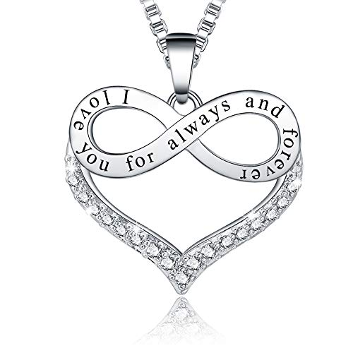 Ado Glo Birthday Gift for Her 'I Love You for Always and Forever' Infinity Heart Pendant Necklace, Fashion Jewelry for Women and Girls, Anniversary Present for Girlfriend Wife Sister Nana Mom