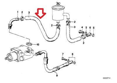 BMW Genuine Power Steering Hose Fluid Reservoir to Pump 16 X 22 mm for 528i 530i 733i 735i 630CSi 633CSi 635CSi 524td 528e 533i 535i 2500 2800 2800Bav 3.0S 3.0SBav 3.0Si 318i 325e 325i 325ix M3 2800CS 3.0CS E12 E23 E24 E28 E3 E30 E9