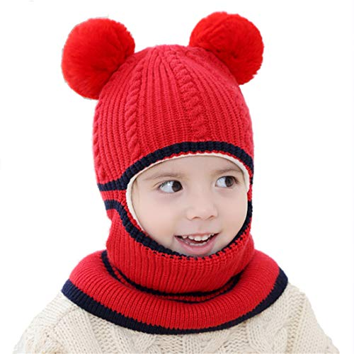 Kids Winter Hat, Baby Knit Hat, Baby Girls Boys Winter Hat, Thick Scarf Earflap Hood Scarves Skull Caps, 1-5 Years Kids (Red)