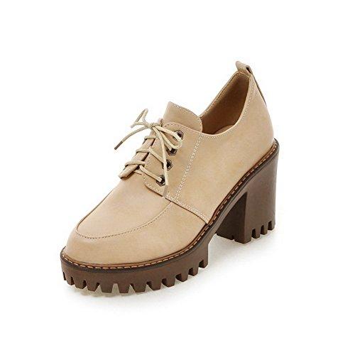 Damen Niedriger PU Leder Rein Schnüren Rund Zehe Pumps Schuhe, Aprikosen Farbe, 43 VogueZone009