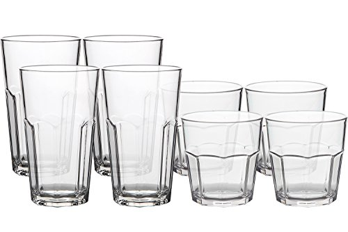 8Pack Unbreakable Rocks Glasses, Old Fashioned Drinking Glasses, 100% Clear Tritan Shatterproof Tumblers, Stackable Reusable Glassware Set for Juice Beer Water, BPA Free, Dishwasher Safe by YINGANG (Image #4)