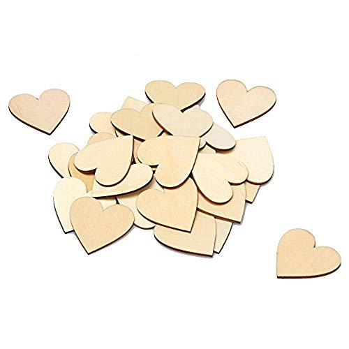 RERIVER 2-Inch Wooden Heart Blank Unfinished Wood Slices Discs Cutout Pieces DIY Crafts Projects(50Pcs) -