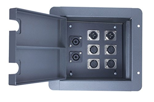 Pro Audio Recess Stage Floor Box Black (4-XLR Female + 2-XLR Male + 2-Speakon compatible (Xlr Floor Box)