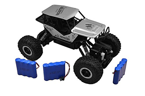 Silver Blomiky C185 1:18 Scale Silver Alloy Monster RC Car Toys 4WD Remote Control Vehicle RC Crawler Buggy Extra 2 Battery for Boy Kids C185 Silver