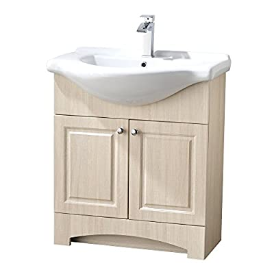 "LifeSky  Modern bathroom vanity Oak - Size: 26"" Wide by 19"" Deep by 37"" Tall FAUCET AND POP UP DRAIN NOT INCLUDE Constructed in laminate composite wood with 2 door - bathroom-vanities, bathroom-fixtures-hardware, bathroom - 41jBG5URKIL. SS400  -"