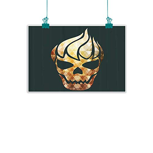funkky Modern Modern Frameless Painting Gothic Skull with Fractal Effects in Fire Evil Halloween Concept Bedroom Bedside Painting 28