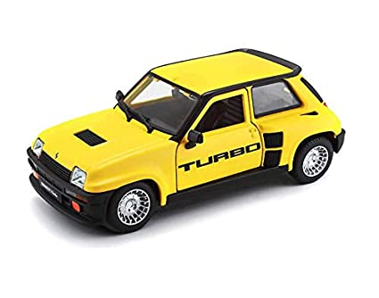 Renault 5 Turbo Yellow Black Accents 1/24 Diecast Model Car Bburago 21088