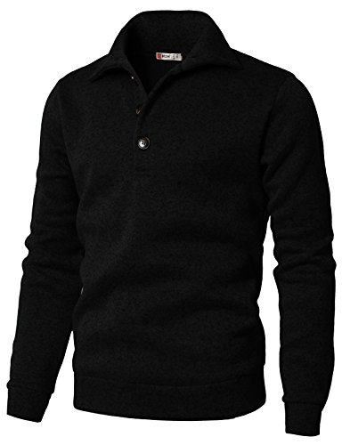 H2H Men's Slim Fit Turtleneck Basic Knit Sweater with Buttons Black US XL/Asia 2XL (CMTTL091)