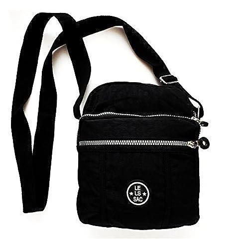 a5bb55957e17 Nylon Crossbody Bag for Women Purse Black Multi Pockets for Travel and  Everyday