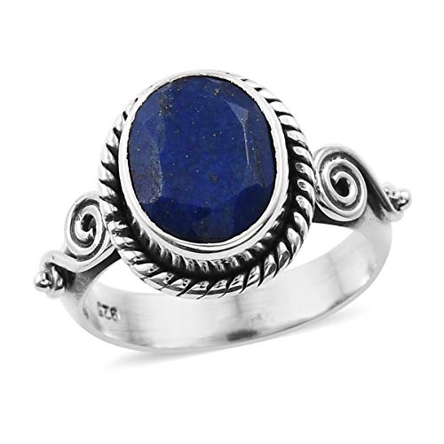 925 Sterling Silver Oval Lapis Lazuli Oxidized Engagement Ring for Women Handmade Jewelry Gift Size 7 Cttw 2