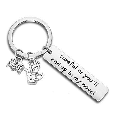 Gzrlyf Writer Bracelet Author Bracelet Writer Gift Novelist Gift Careful Or Youll End Up in My Novel Jewelry Writing Gift Author Jewelry (Writer Keychain)