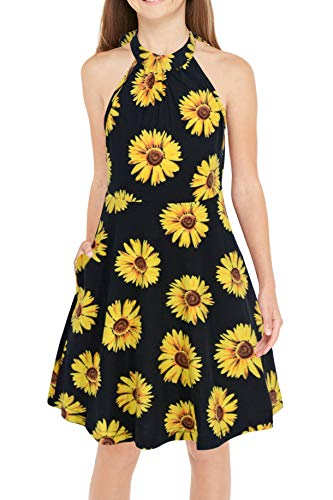 GORLYA Girl's Halter Neck Cold Shoulder Sleeveless Summer Casual Sundress A-line Dress with Pockets for 4-12 Years (GOR1013, 7-8Y, Yellow Flower)