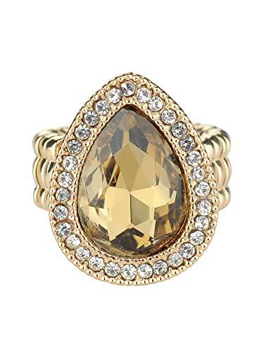 (NYFASHION101 Women's Evening Gala Bridal Prom Wedding Fashion Stretch Ring - Mini Stone, Light Brown/Gold-Tone)