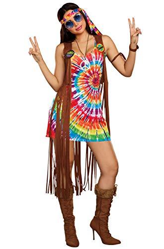 Hippie Halloween Dress (Dreamgirl Women's 1960's Tie-Dyed Hippie Hottie Costume, multi,)