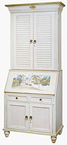 Computer Secretary & Hutch with Hand Painted Island Scene - Painted Hand Hutch