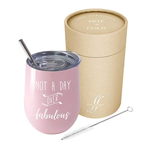 Not A Day Over Fabulous - Fancyfams - 12 oz Stainless Steel Stemless Wine Tumbler with Lid - Perfect Birthday Gift for Her (Pink)