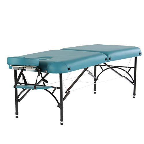 Artechworks 84″ Professional 2 Folding Portable Lightweight Massage Table Facial Solon Spa Tattoo Bed With Aluminium Leg(2.56″ Thick Cushion of Foam) Teal Green
