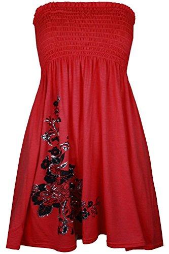 Plus Sheering Swing Red Mini Floral Top Womens 18 Mode Glitter 8 Cima Bandeau Dress pxBfYEnq