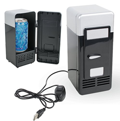 Price comparison product image Vinmax Mini USB Fridge Portable Beer Beverage Drink Cans Cooler & Warmer Refrigerator For Car Laptop PC Computer Office Home(Black)