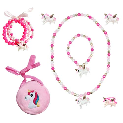 Elesa Miracle Little Girl Kids Unicorn Jewelry Set Girl Unicorn Necklace Bracelet Unicorn Clip on Earrings Value Set