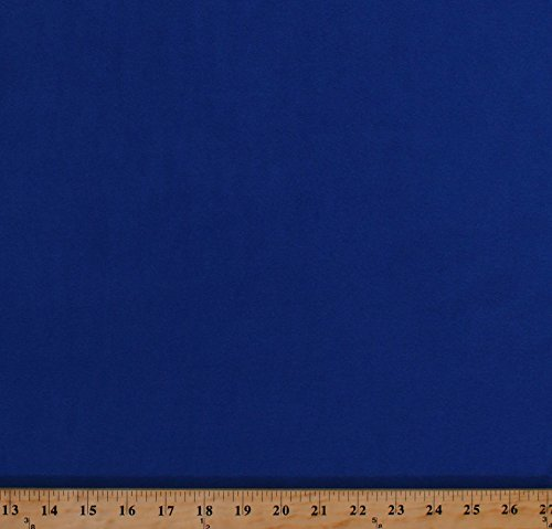 Fleece 4-Way Stretch Sapphire Blue Solid Fleece Fabric by The Yard (4722H-10A)