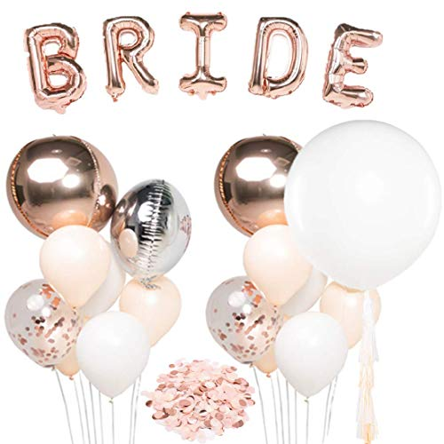"UNIQOOO Rose Gold Balloons Bridal Shower Decorations|Bachelorette Party Supplies -36"" Giant Balloon w/ Tassel Garland 