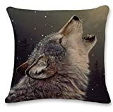 Pgojuni Cute Wolf Tower Flax Pillowcase Decoration Throw Pillow Cover Cushion Cover Pillow Case for Sofa/Couch 1pc (G)