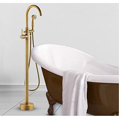 - CTRPLQ Modern Free Standing Bathtub Faucet Tub Filler Fashion Antique Brass Floor Mount with Hand Shower Bathtub Mixer Taps