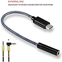 Kript USB Type C to 3.5 mm Headphones Aux Audio Jack Adapter Cable Converter, External DAC Equal to Sound Card for Your Phones, for Samsung S8, Google pixel 2,HuaWei mate10,Moto Z,HTC U11... (silver)