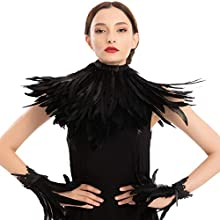 Black Evil Queen Accessories Set with Feather Shawl and Feather Cuff for Halloween Cosplay Party Gothic Crow Maleficent Costume Dress Up